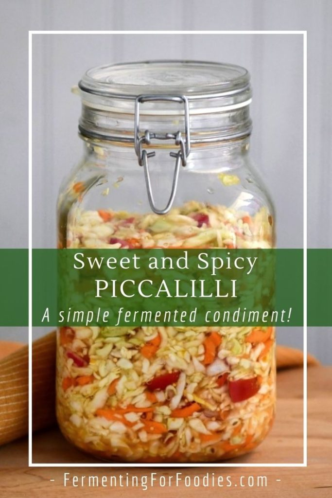 Fermented piccalilli is delicious as a condiment or relish with sandwiches, burgers or Indian food