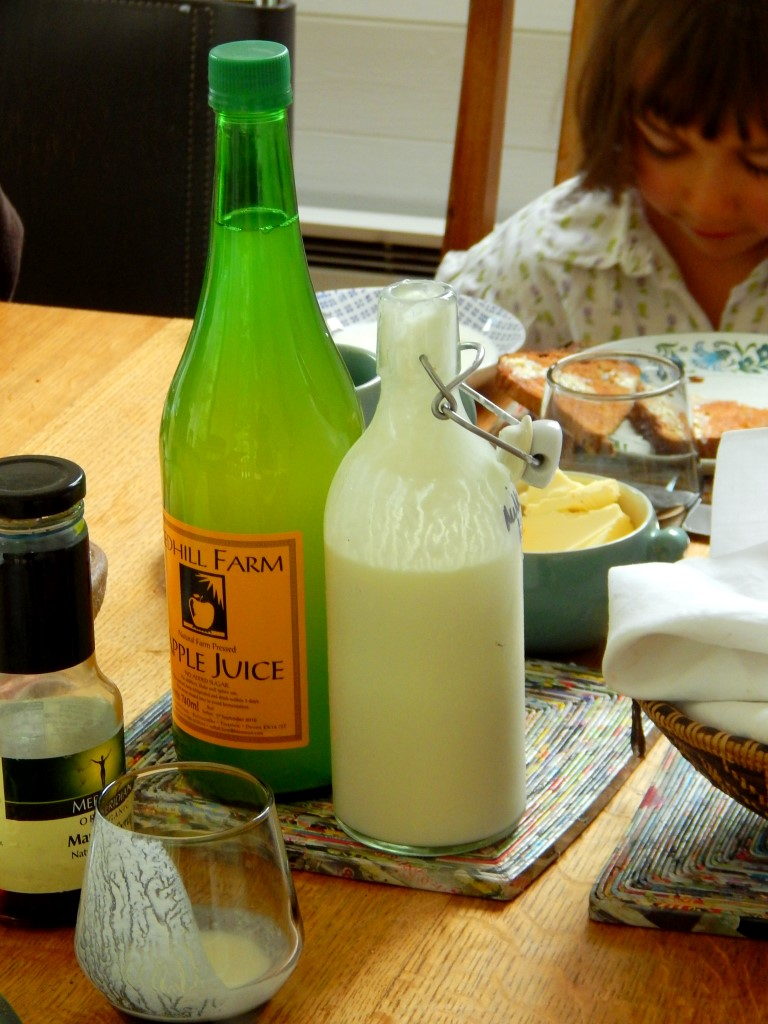 Breakfast table with milk kefir