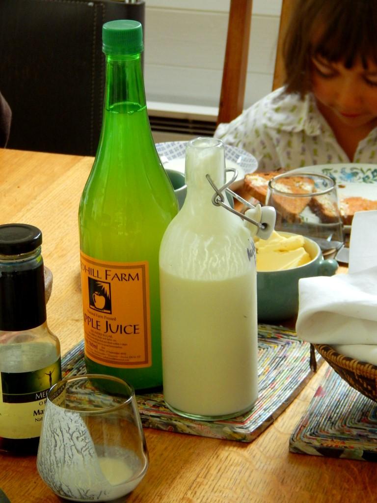 Breakfast table with milk kefir