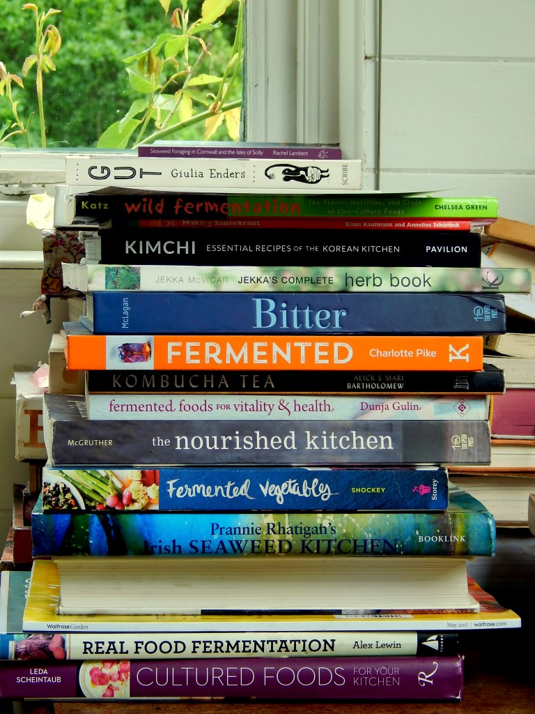 Stacks of books on fermentation