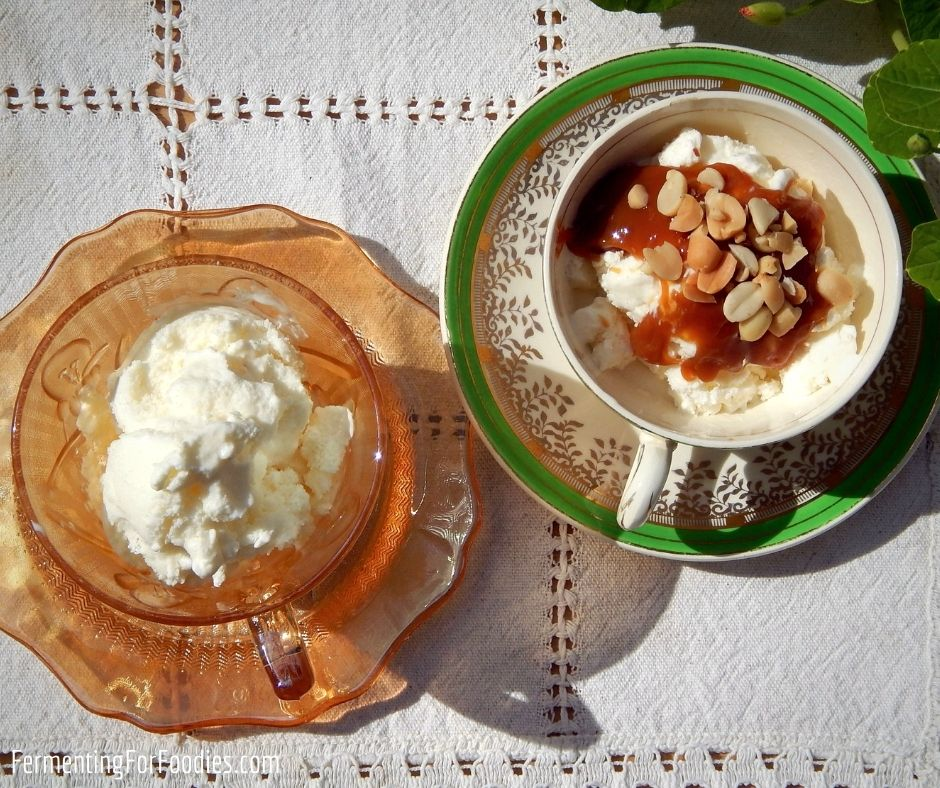 Healthy honey and milk kefir ice cream.