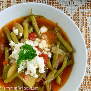 Greek green beans with feta - delicious summer stew