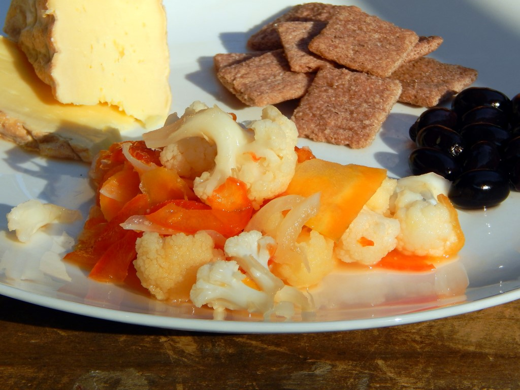 Plate with pickled carrots, cauliflower and peppers