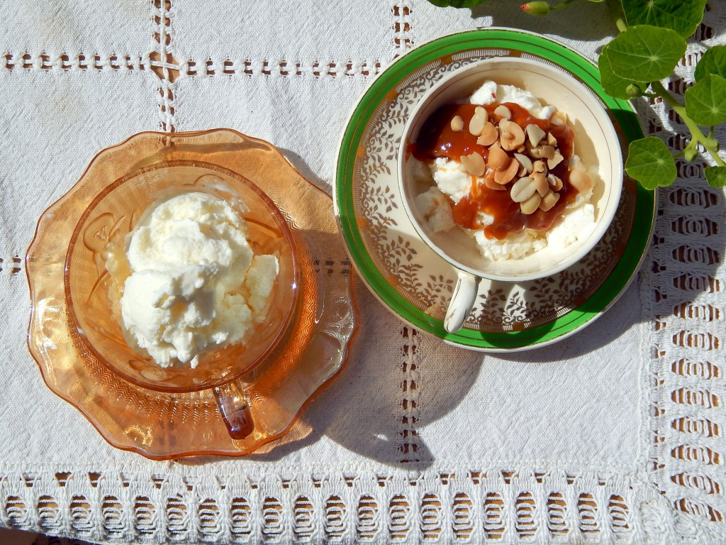 Top-down photo of two tea cups of ice cream.