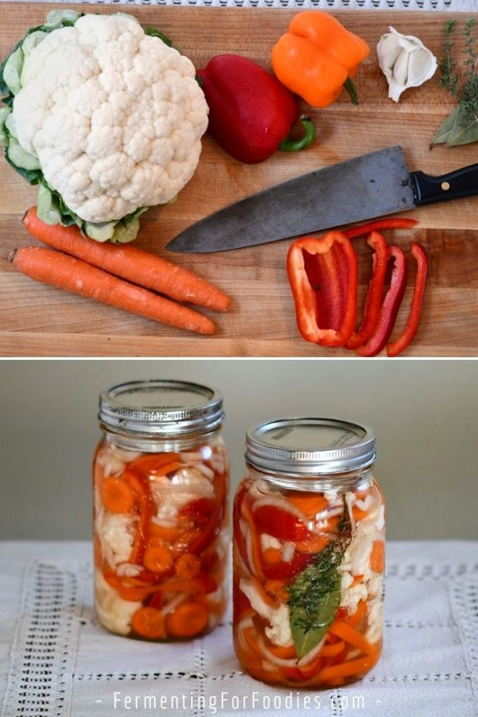 Hot or mild naturally fermented giardiniera pickles - vegan, gluten-free, keto, probiotic and delicious