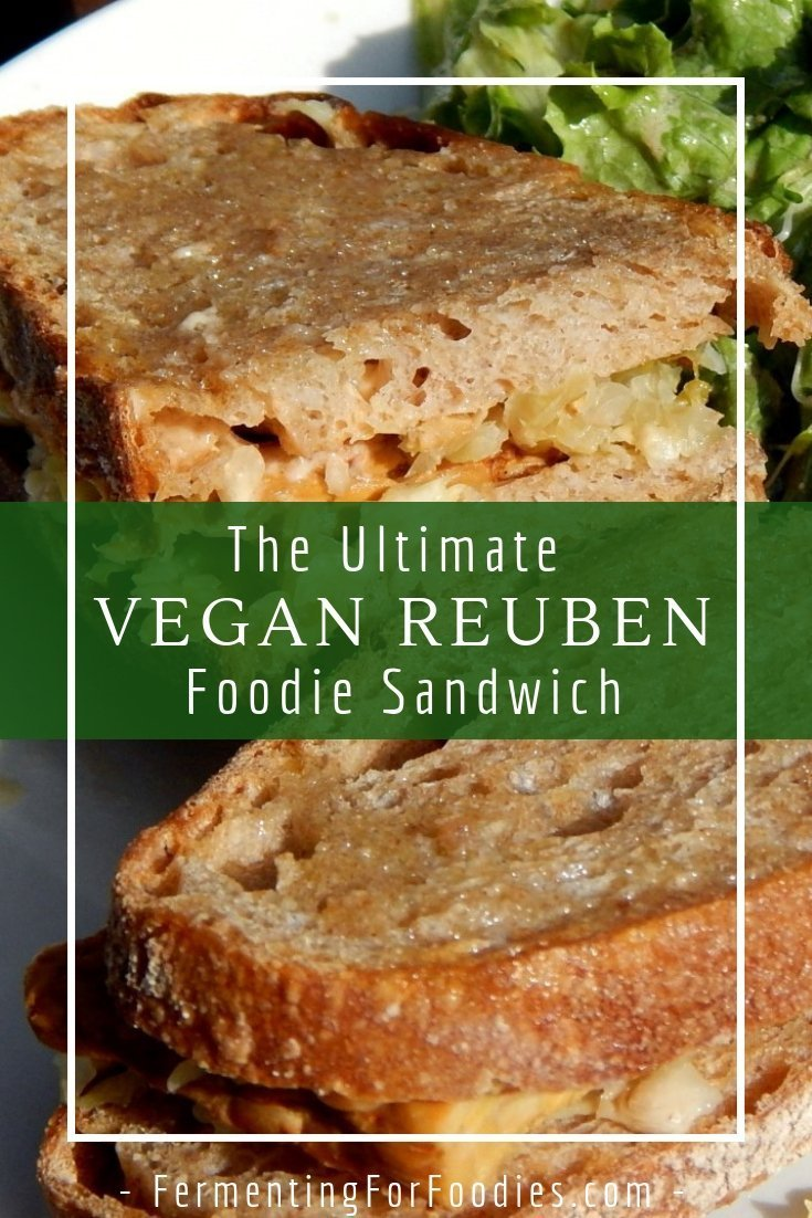 A vegan reuben with tempeh, sauerkraut and rye bread