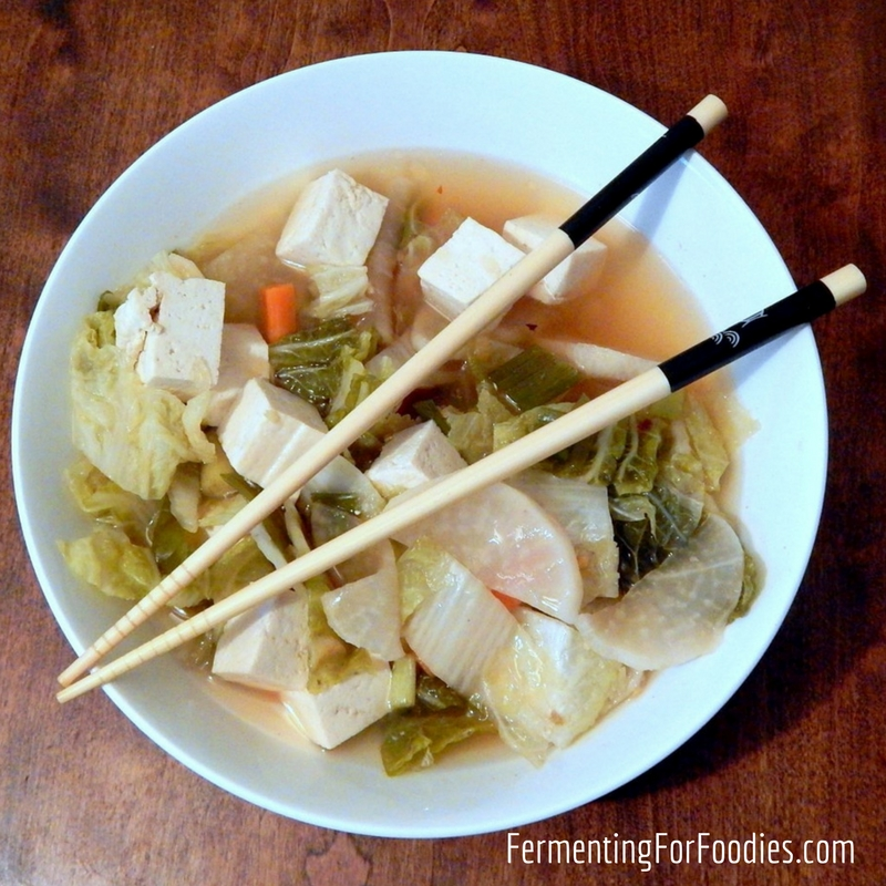 Quick and Easy Kimchi Soup - vegan, gluten free or with pork