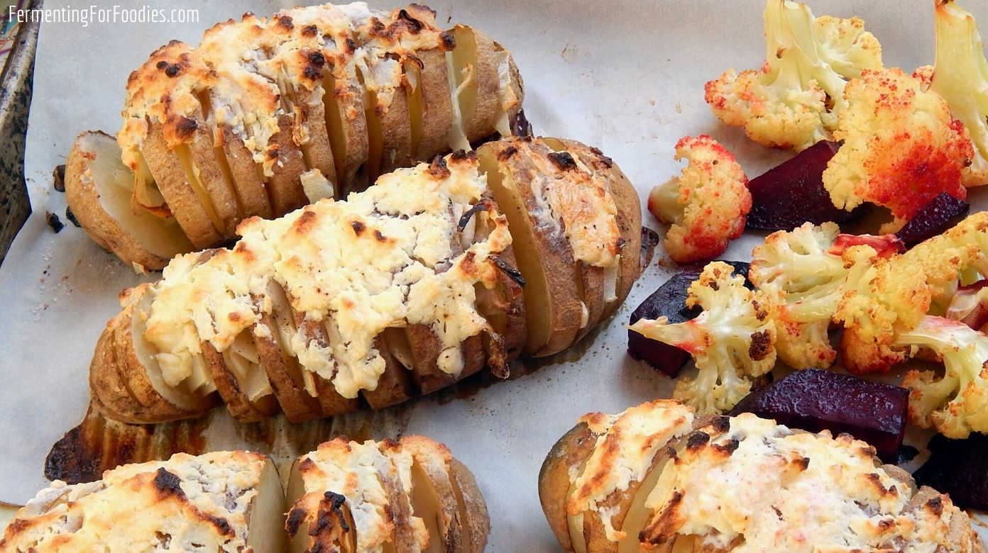 Onion and feta hasselback potatoes are an easy and delicious side dish