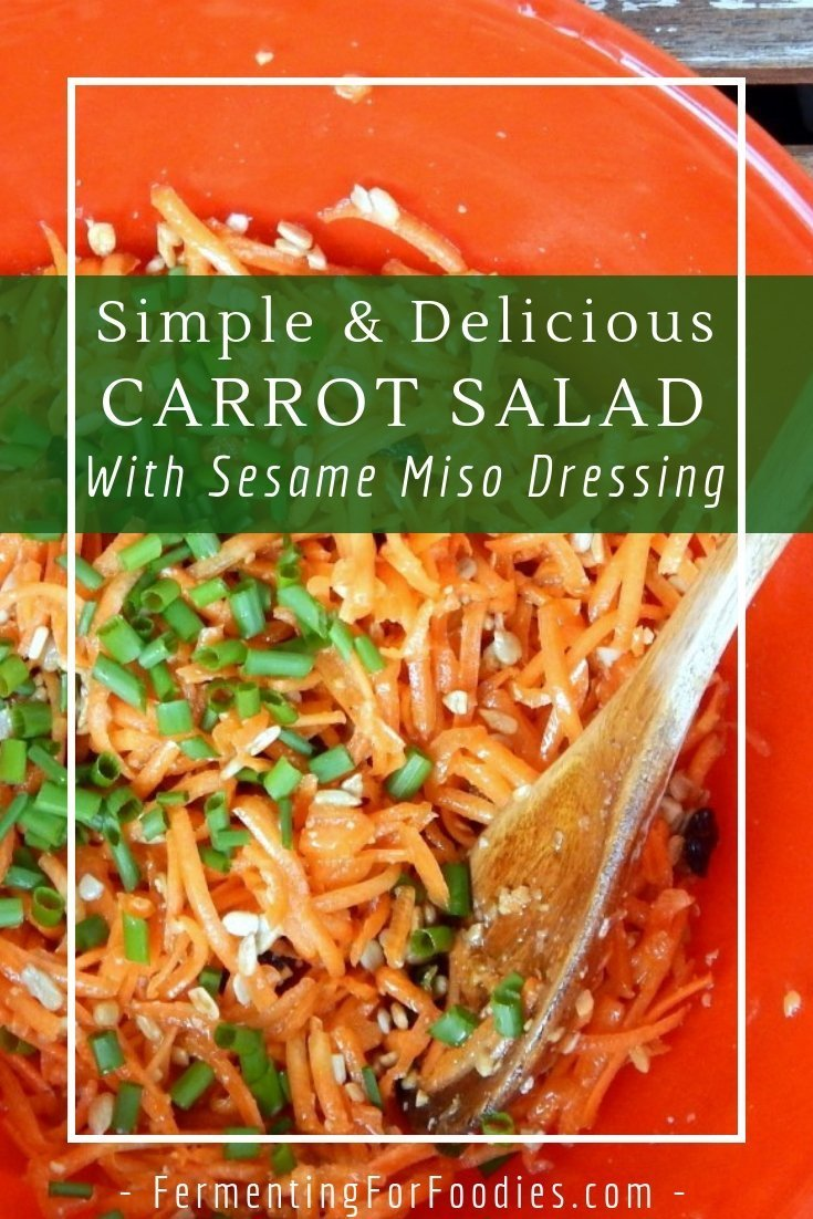 Carrot salad with miso dressing is an Asian-inspired salad perfect for potlucks, BBQ and quick weeknight meals