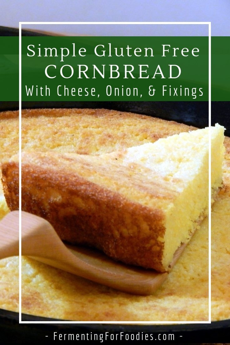 Traditional buttermilk fermented cornbread with onions, cheese, bacon and chipotle peppers