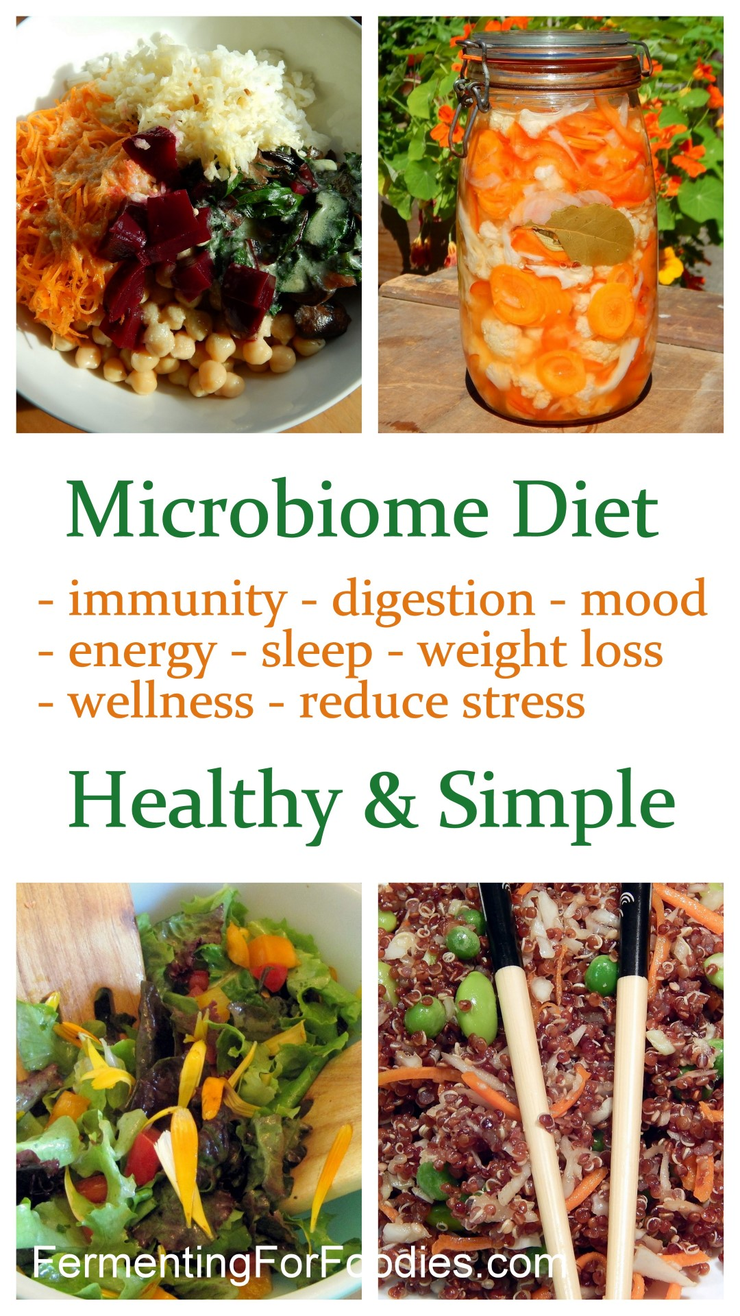 Microbiome diet for immunity, digestion, mood, energy, sleep, weight loss, wellness, stress