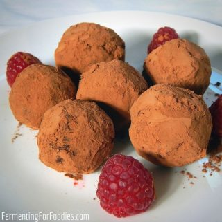 Simple homemade probiotic chocolate truffles with cultured whipping cream and dark chocolate