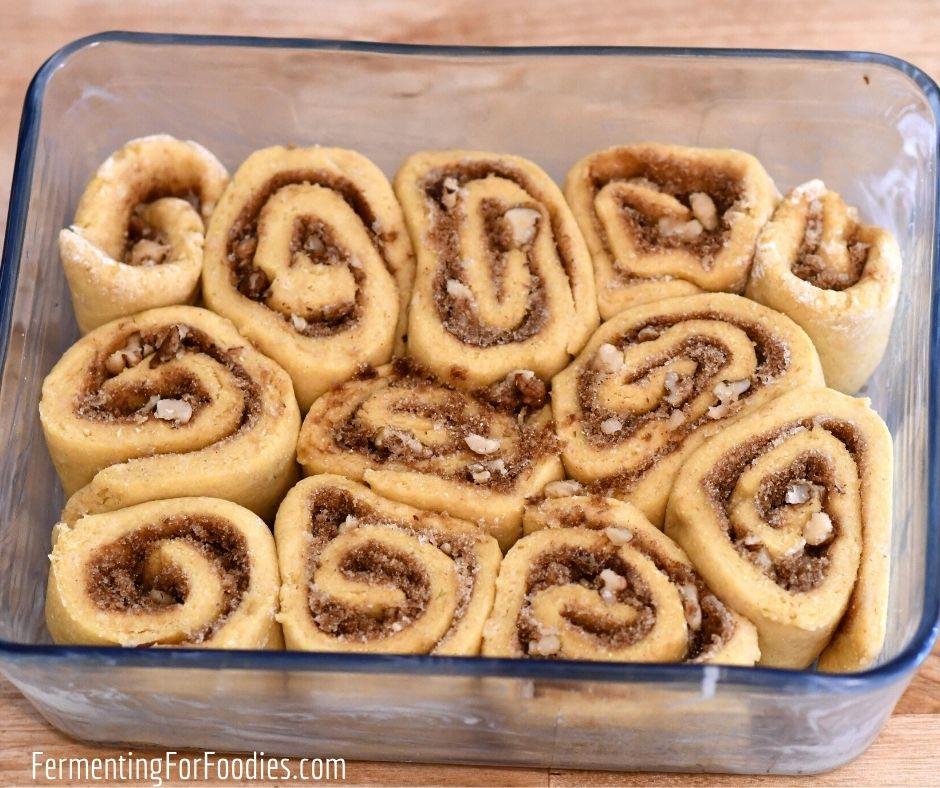 Sugar-free, gluten-free sourdough cinnamon buns with date paste.