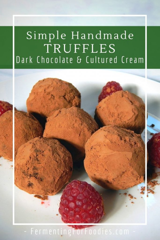These dark chocolate truffles feature a cultured whipping cream centre for a melt-in-your-mouth treat with a tangy finish