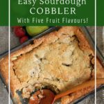 Five varieties of sourdough cobbler with quick bread topping
