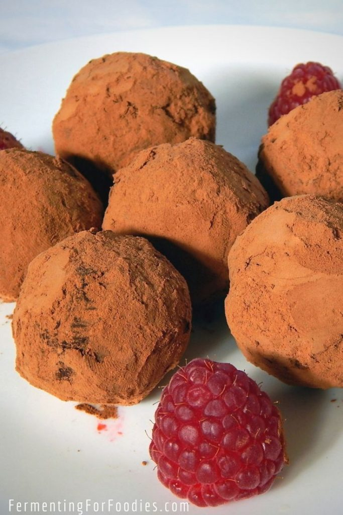 Hand rolled probiotic chocolate truffles are a decadent and healthy treat