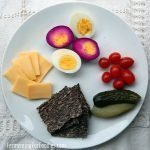 Dark purple pickled eggs cultured with fermented beets