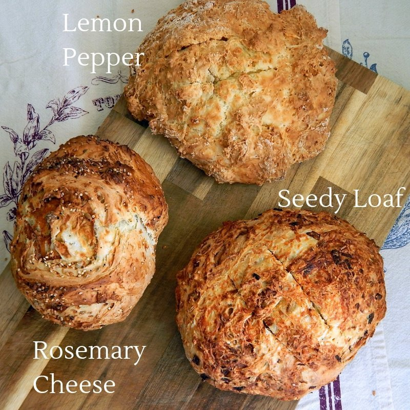 Flavours of soda bread, rosemary, cheese, onion, lemon, pepper, seeds, cinnamon, raisin, delicious