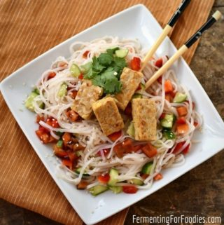 Tempeh noodle salad is gluten-free and vegan!