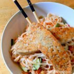 Tempeh noodle salad with lime, ginger, sesame and siracha