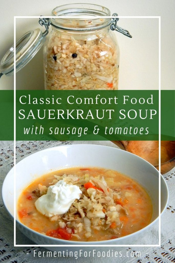 Simple and delicious sauerkraut soup is based on a rich Russian potato broth