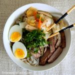 Kimchi noodle bowl with pork eggs and a savoury broth