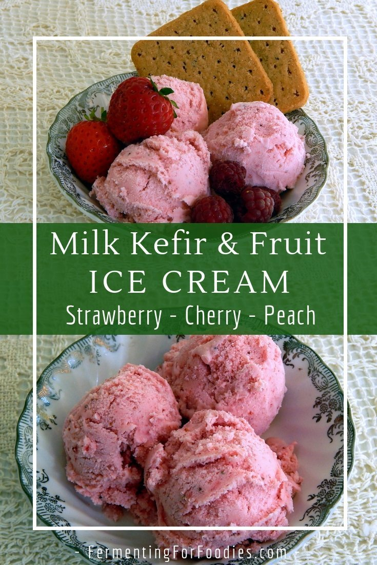Make kefir ice cream with your favourite fruit - strawberry, cherry, blueberry or peach