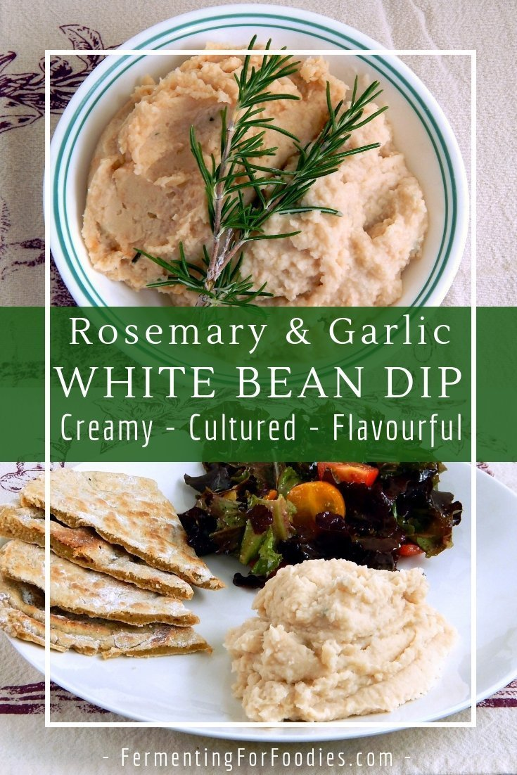 Creamy probiotic rosemary white bean dip is a delicious alternative to hummus.