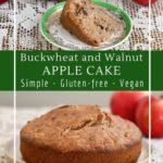 Buckwheat, walnut and apple cake, a healthy snack or coffee cake