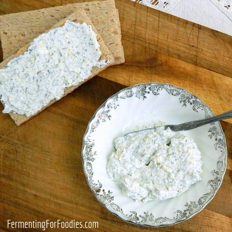Homemade boursin cheese with kefir cheese, yogurt cheese or cream cheese