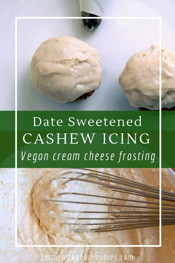 Sugar free and full of protein, date sweetened cashew frosting