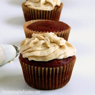 Gluten free red velvet cupcakes with beets and date sugar for a sugar-free treat