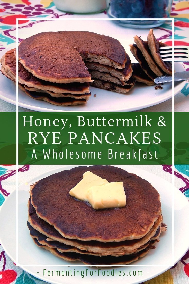 Wholesome and delicious buttermilk honey rye pancakes