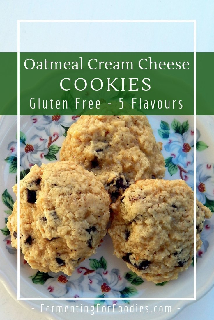 Quick drop cream cheese oatmeal cookies are pre cultured for improved digestion