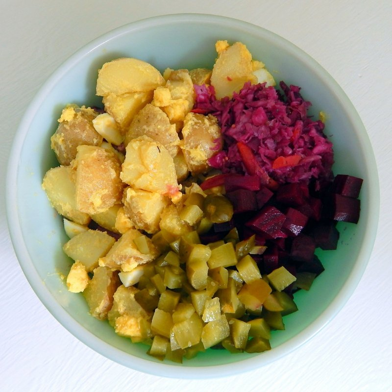Prebiotic and probiotic potato salad for a gut healthy side dish