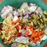 Simple and delicious probiotic potato salad with fermented vegetables