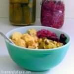 Probiotic potato salad made with mixed fermented pickles
