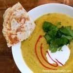 Curried pea soup with probiotic coconut cream