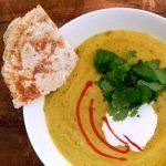 Curried split pea soup with cultured coconut cream