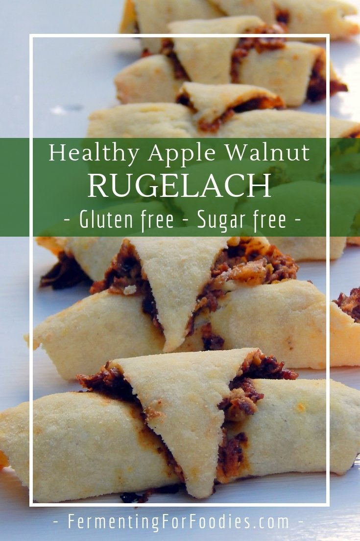 Healthy rugelach - gluten free, sugar free, with apples and walnuts