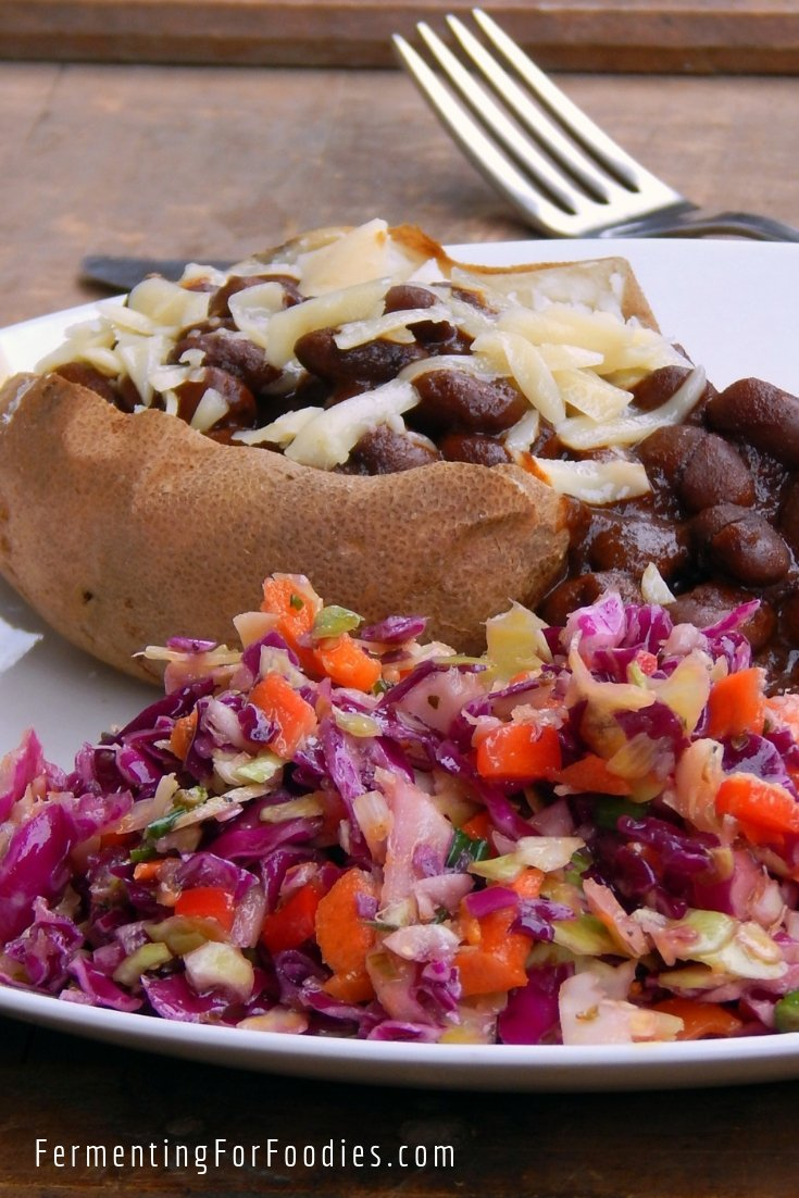 Probiotic coleslaw, perfect for traditional pub fare with baked potatoes and baked beans.