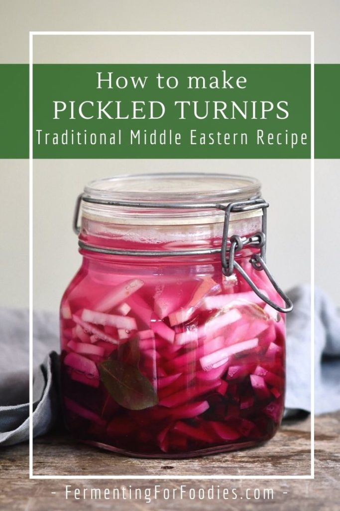 Traditional pickled turnips using fermentation. Either wild fermentation or with a starter culture like kombucha or ACV