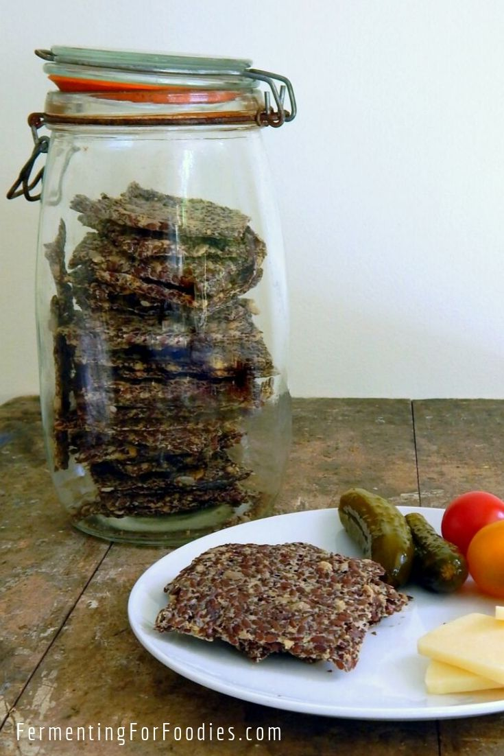 Lacto fermented flax seed crackers are probiotic and delicious