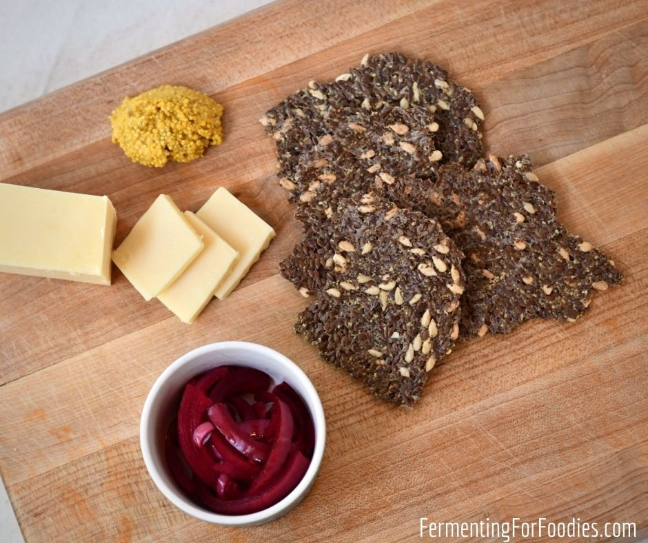 Prebiotic and probiotic flax seed crackers. Perfect for gut health.