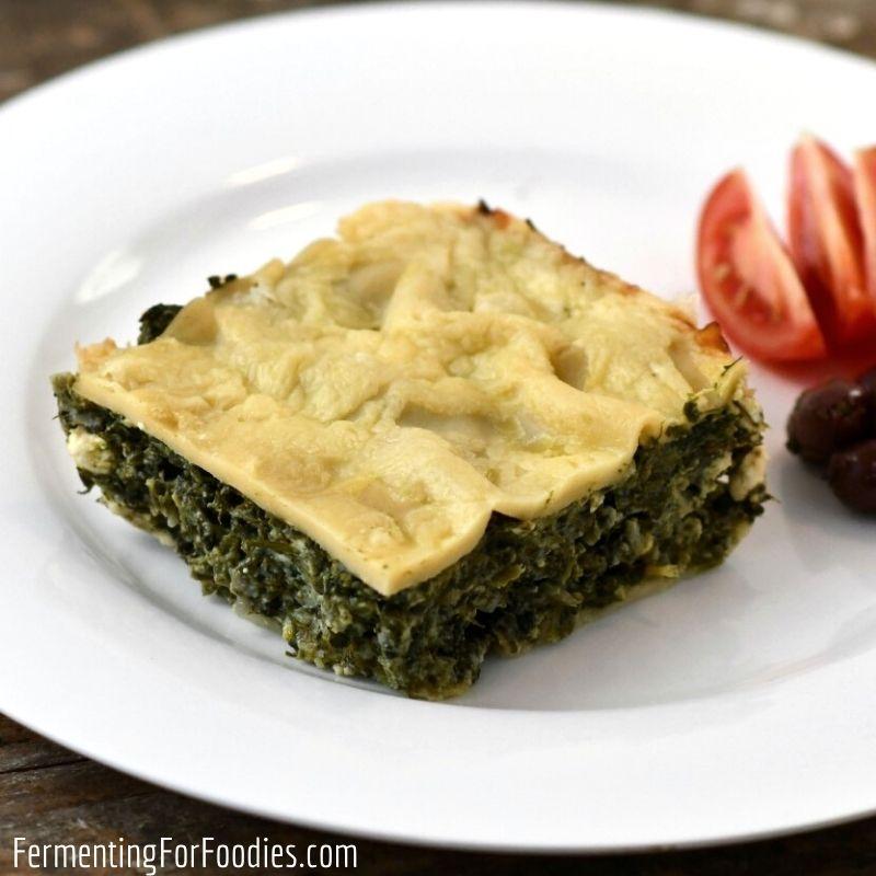 Gluten-free spanakopita lasagna - Greek spinach pie