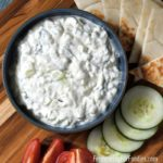 Homemade tzatziki is a Greek cucumber and yogurt dip.