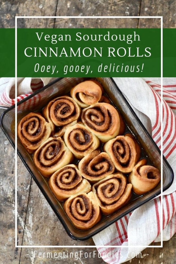 Vegan Sourdough Cinnamon Rolls are a great way to use up sourdough discard.