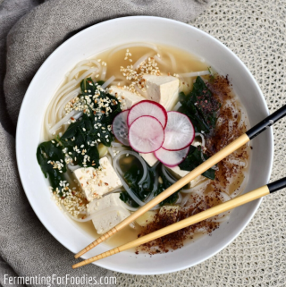 Winter vegetable Japanese Noodle Soup with Kale and Parsnips