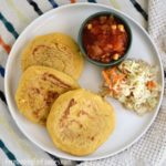 Bean and cheese pupusas are perfect for cooking with your kids. Easy and delicious!