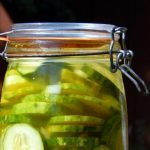 Honey garlic pickles are a fermented version of a bread and butter deli pickle.